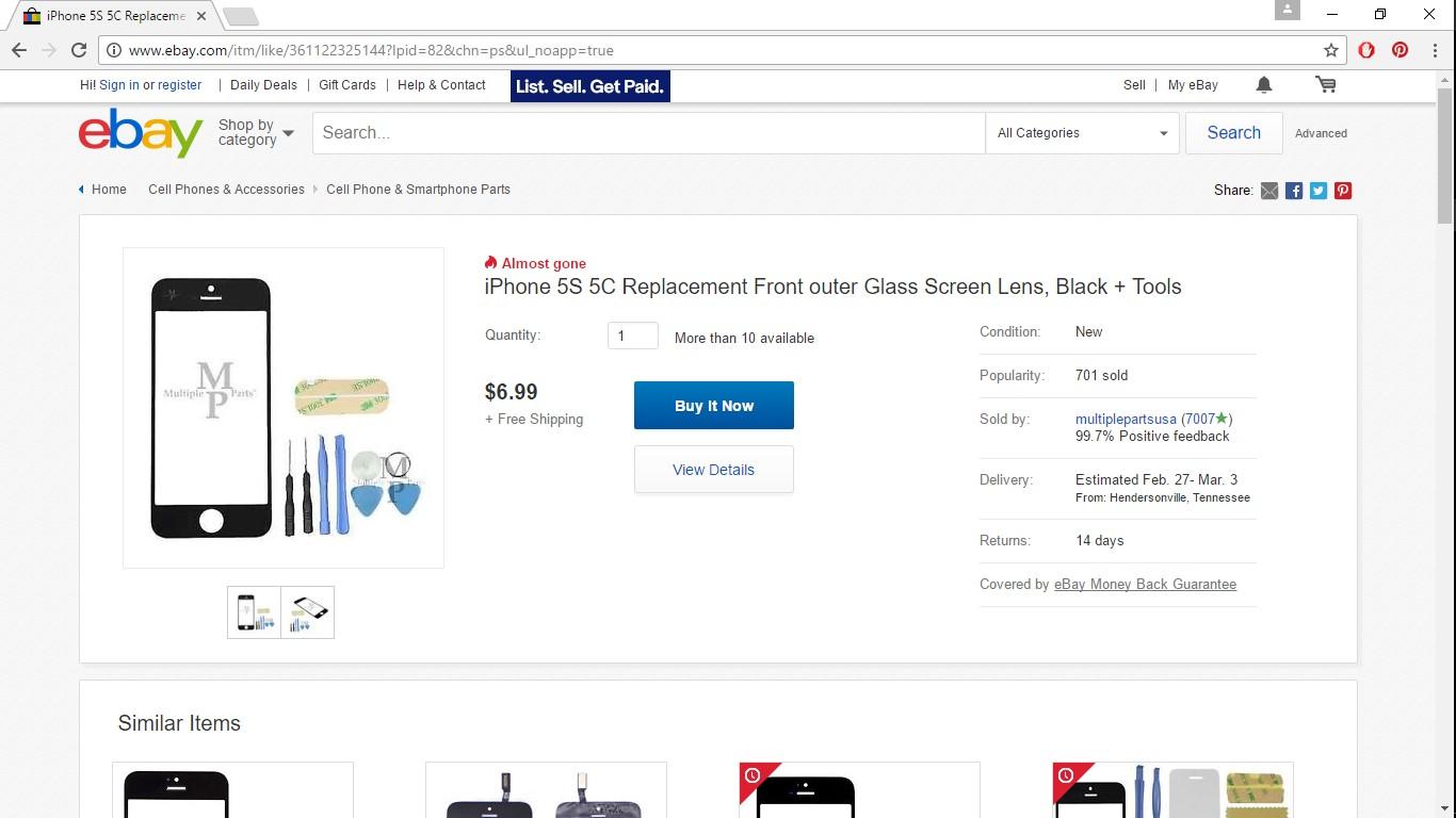 Screenshot of eBay iPhone 5c Screen Replacement
