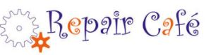 Repair Cafe logo, consisting of the words in stylized font alongside two interlocking cogs