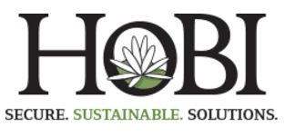 """HOBI international logo, with the letter HOBI and a lotus within the O. Below that are the words """"Secure. Sustainable. Solutions."""""""