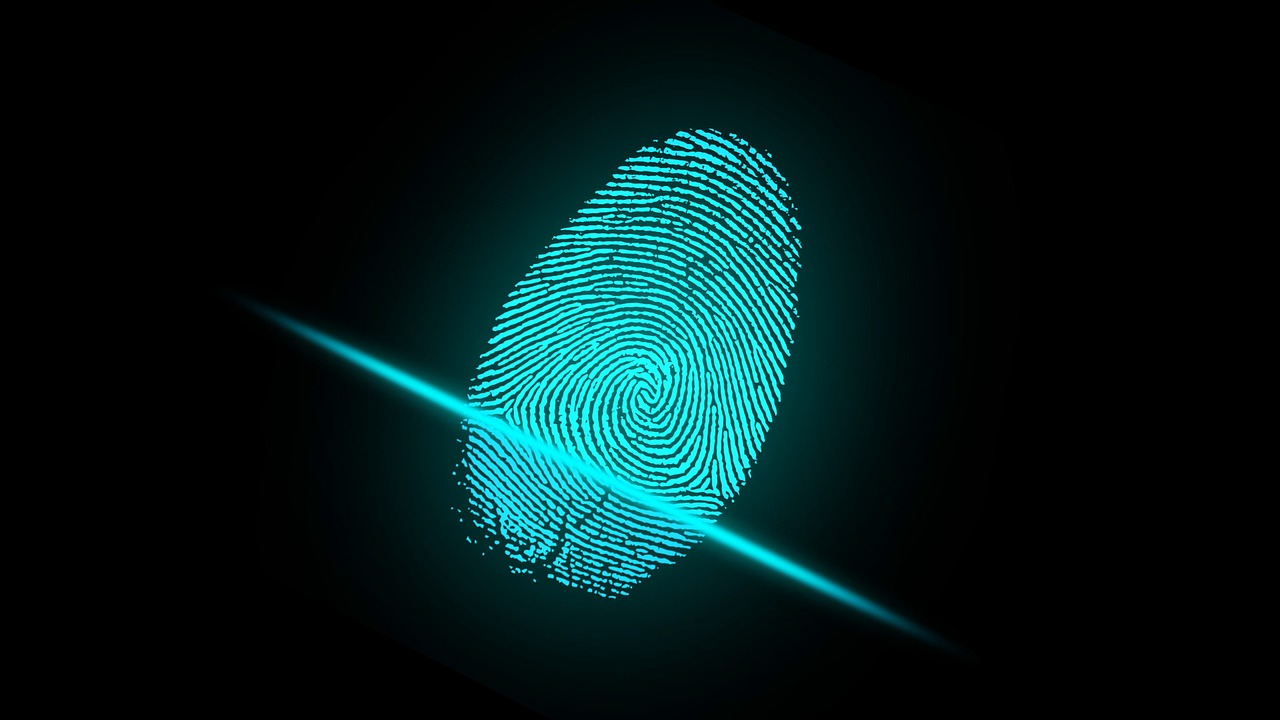 Finger print in blue
