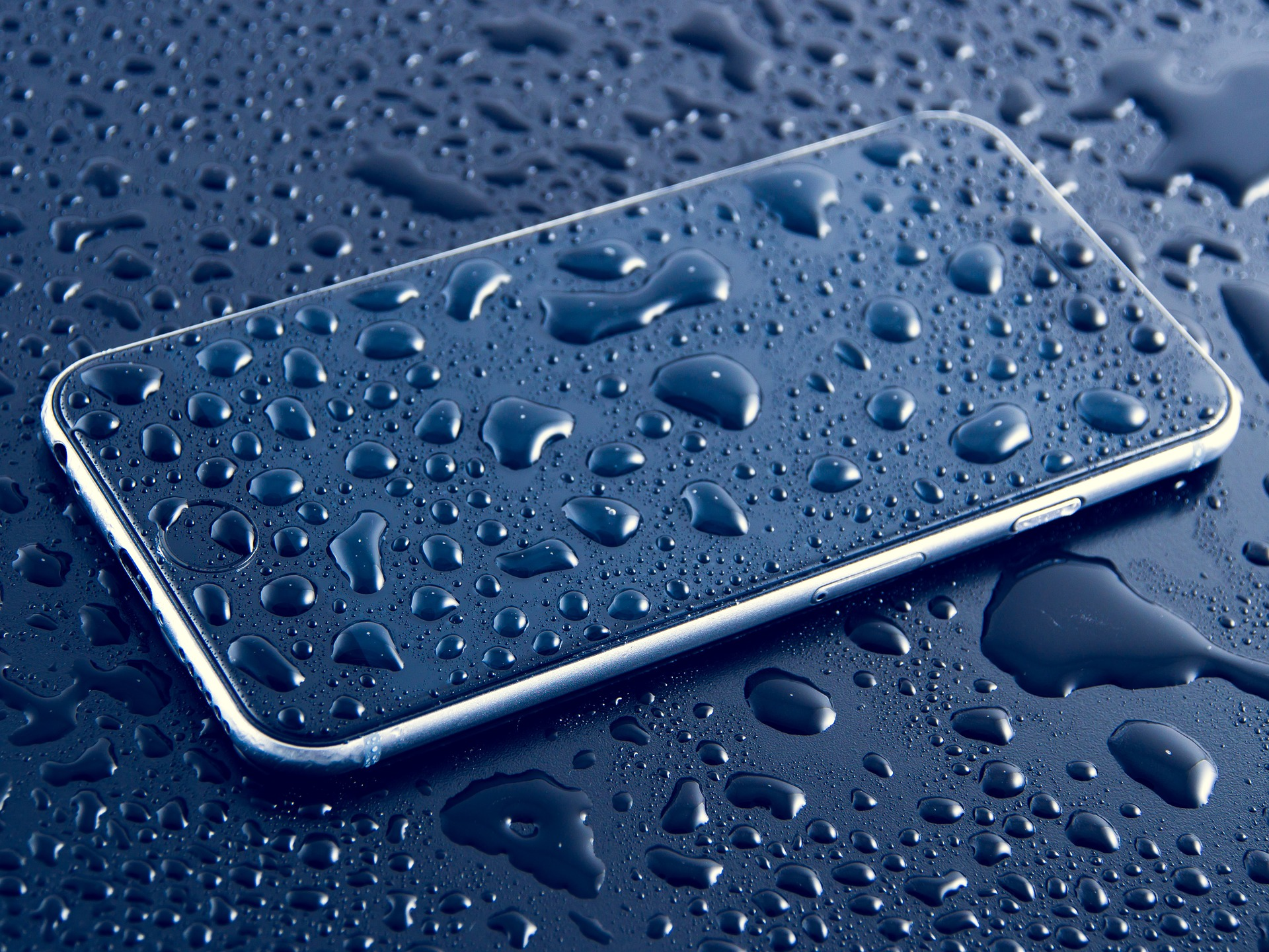Smart phone with water drops