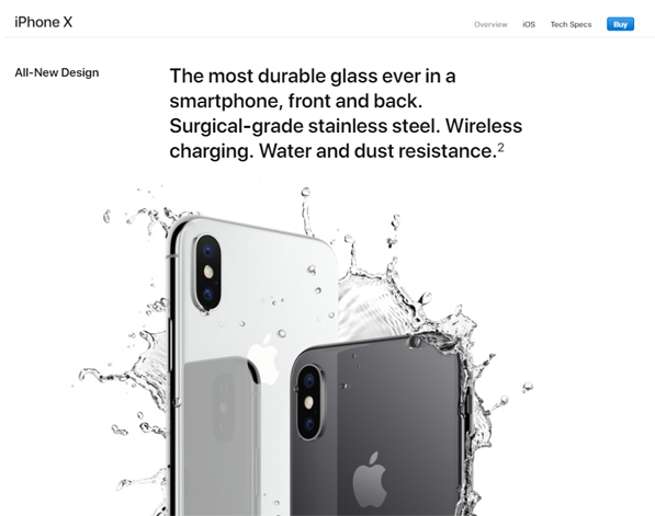 Screenshot from Apple's iPhone X webpage