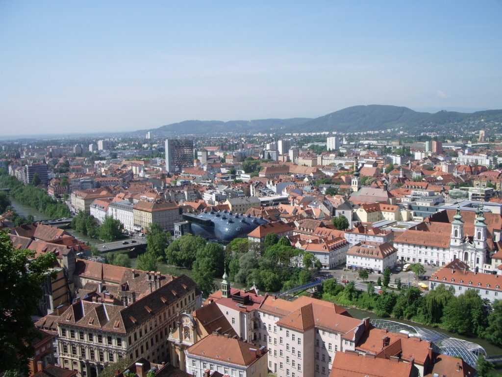 Aerial view showing buildings in the city of Graz, Austria.